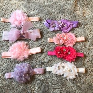 Other - 8 floral and bling baby girl headbands